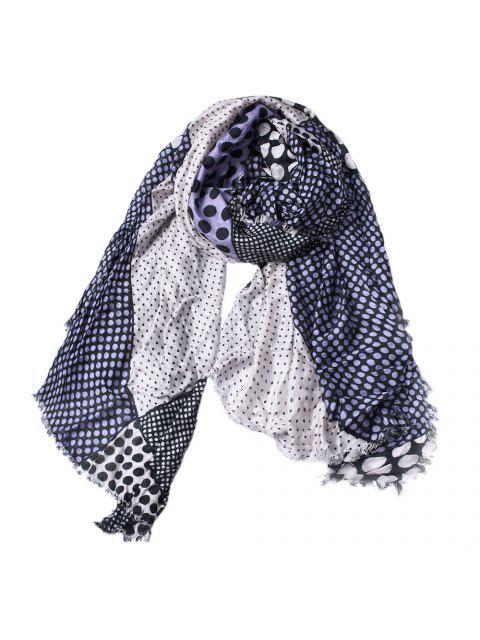 Chal de la bufanda de la borla del algodón de la impresión del punto de las mujeres - Azul Pizarra  Mobile