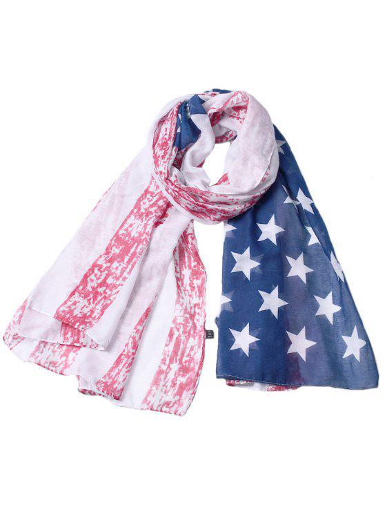 Bandeira nacional americana impressa moda viscose cachecol - Multi