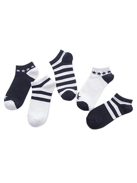 Black and White Cotton Boat Socks 5 Pair