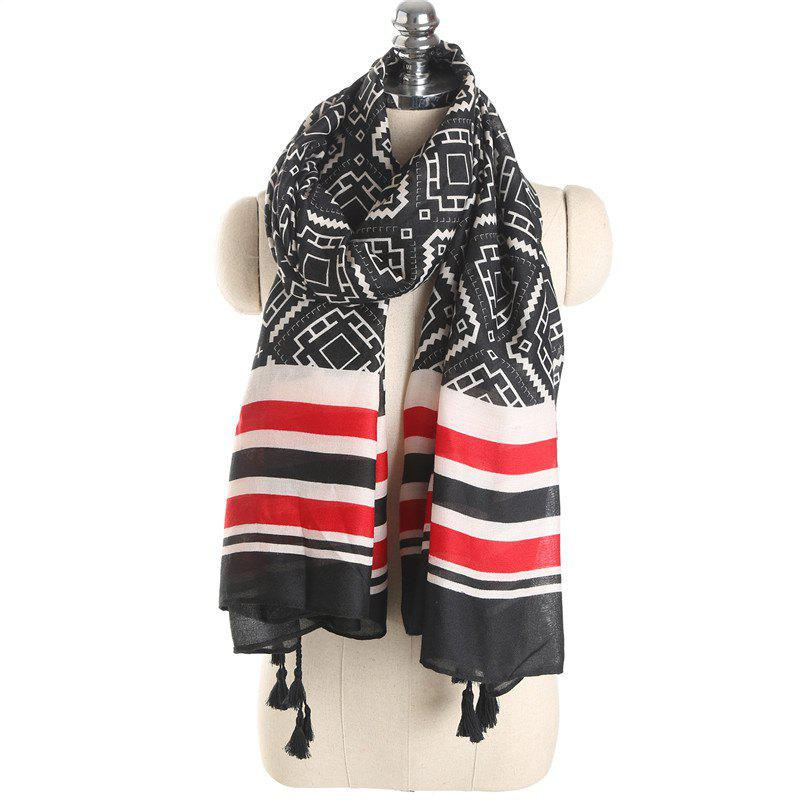 New Luxury Autumn Cotton Scarf with Stripe and Tassel Printing for Women Gift