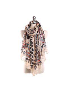 Mantón Colorido Del Abrigo De La Bufanda De La Impresión Del Fantasma De La Tela De La Protección Solar - Rosa Khaki