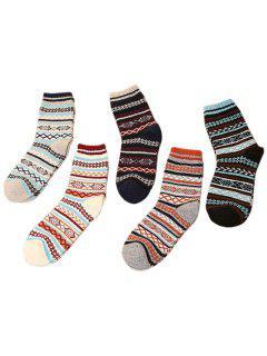 5 Pair Of Warm Sweater Ladies' Striped Socks - Multi