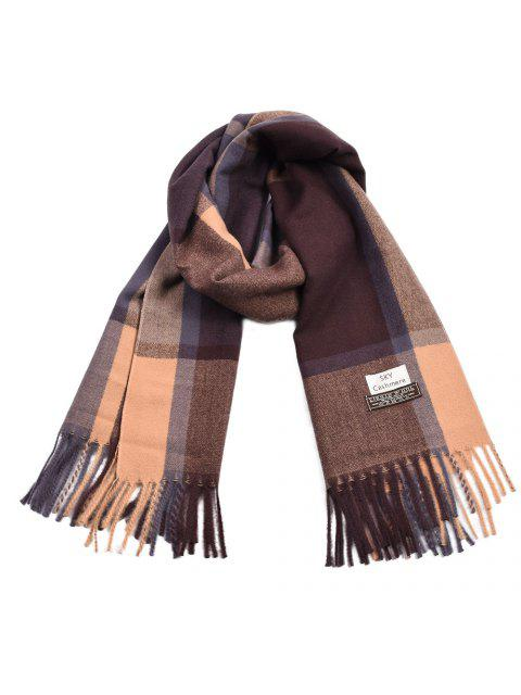 shop Women Cashmere Scarf Plaid Blanket Ladies Thicken Warm Pashmina - MULTI-A  Mobile