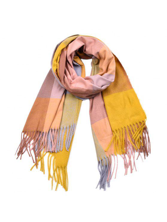 fancy Women Yarn Dyed Shawls Pashmina Plaid Tassel Cashmere Scarves - MULTI-A