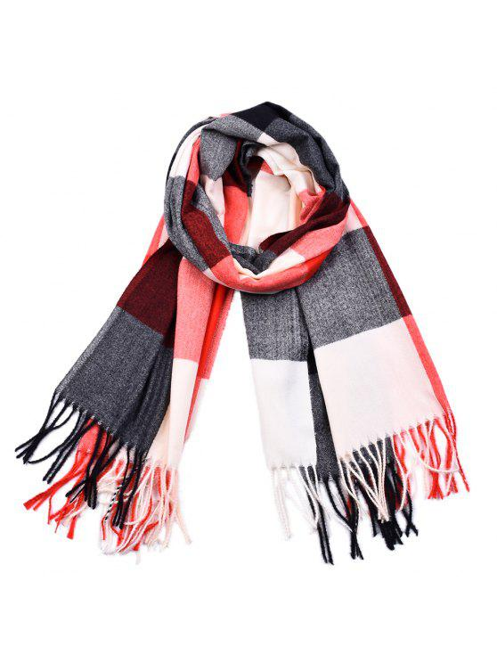 affordable Women Yarn Dyed Shawls Pashmina Plaid Tassel Cashmere Scarves - MULTI-D