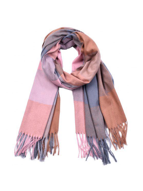 women's Women Yarn Dyed Shawls Pashmina Plaid Tassel Cashmere Scarves - MULTI-H