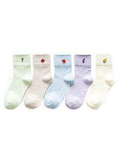 Mashup Lady Socks En Coton à Motif Végétal 5 Mélange Et Assortiment De Deux Couleurs - Multi