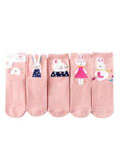 Calcetines De Algodón Rabbit Pattern Ladies  '5 Pares De Mezcla De Colores - Multicolor