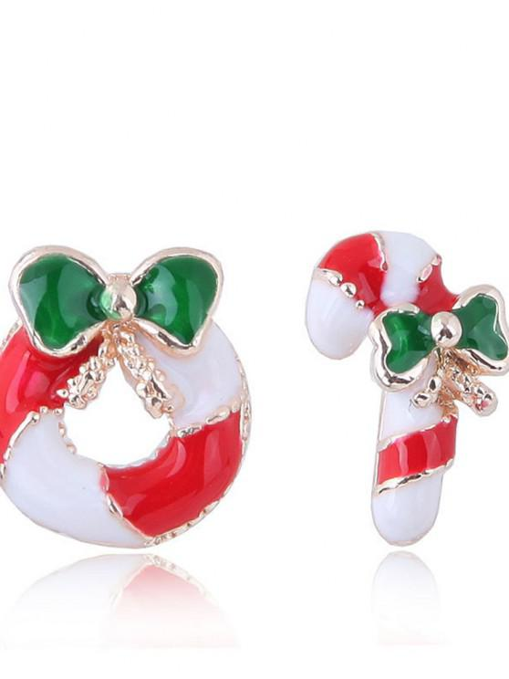 European Style Fashion Sweet Christmas Candy Cane Wreath Mismatch Earrings - أحمر 1 زوج