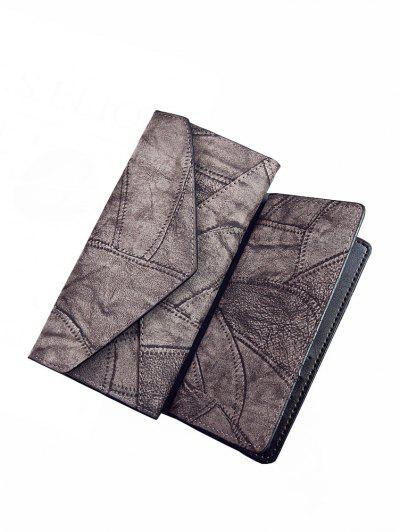 Fashion PU Long Ladies Wallet Two-Piece Clutch Bag Card Package - Gray Regular