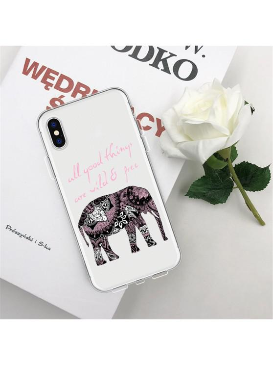 affordable Patterned Elephant TPU Wear Proof Soft Protective Case for iPhone XS - MULTI