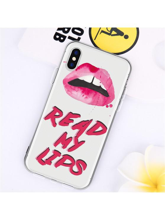womens Text Red Lip TPU Wear Proof Soft Protective Case for iPhone X - MULTI