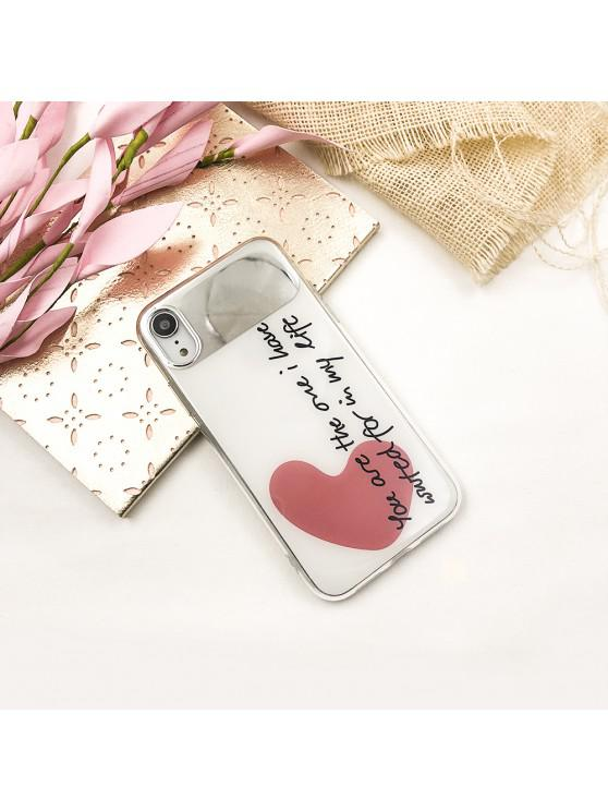 outfits Text Love Mirror Pattern Protective Phone Case for iPhone XR - BEAN RED
