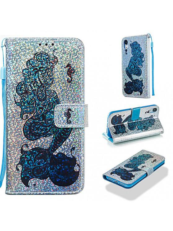 online Luxury Glitter Leather Card Wallet Flip Phone Case for iPhone XR - MULTI-A