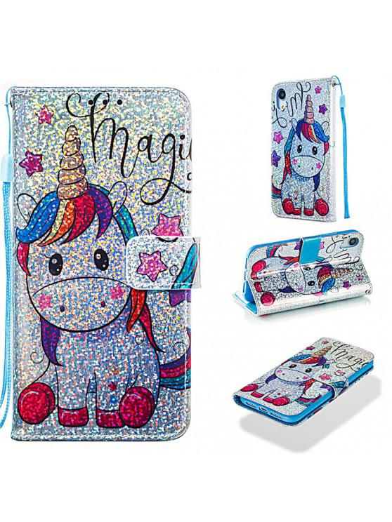 hot Luxury Glitter Leather Card Wallet Flip Phone Case for iPhone XR - MULTI-C