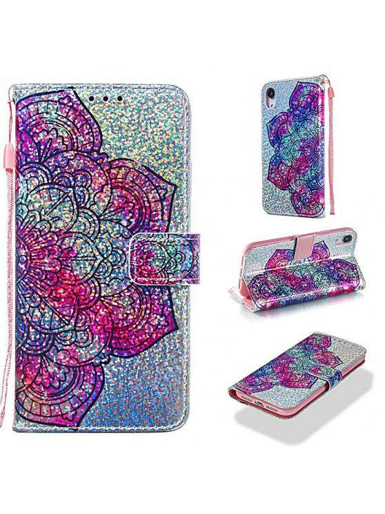 outfit Luxury Glitter Leather Card Wallet Flip Phone Case for iPhone XR - MULTI-D