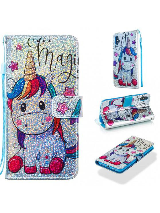 womens Luxury Glitter Leather Card Wallet Flip Phone Case for iPhone X / XS - MULTI-A