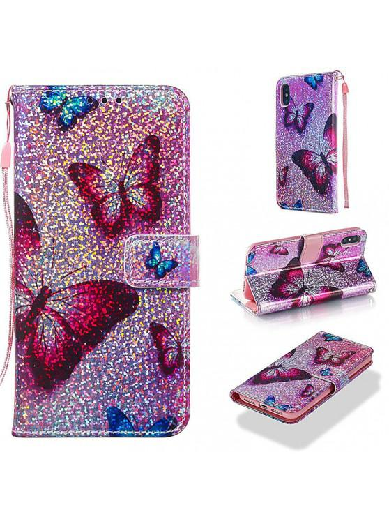 women Luxury Glitter Leather Card Wallet Flip Phone Case for iPhone X / XS - MULTI-B