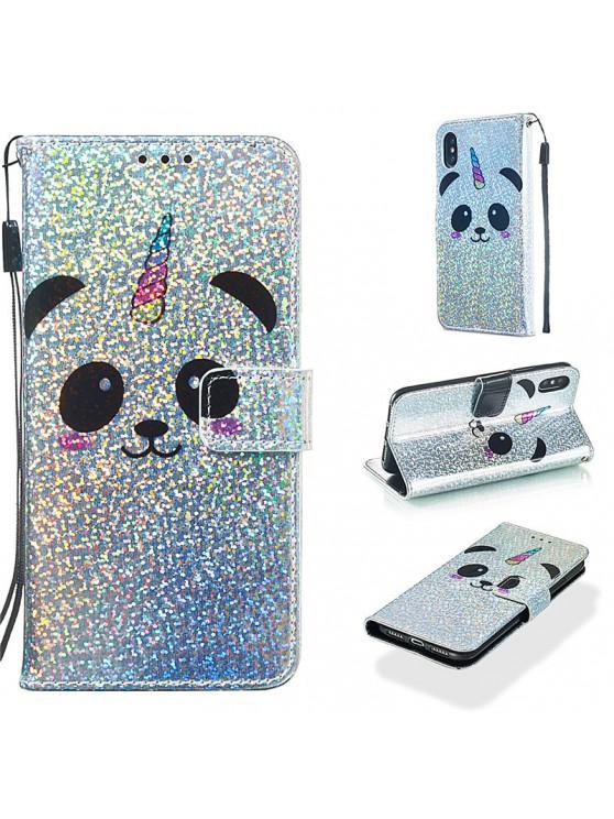 women's Luxury Glitter Leather Card Wallet Flip Phone Case for iPhone X / XS - MULTI-C