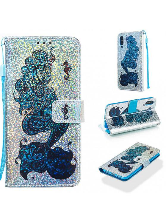ladies Luxury Glitter Leather Card Wallet Flip Phone Case for iPhone X / XS - MULTI-D