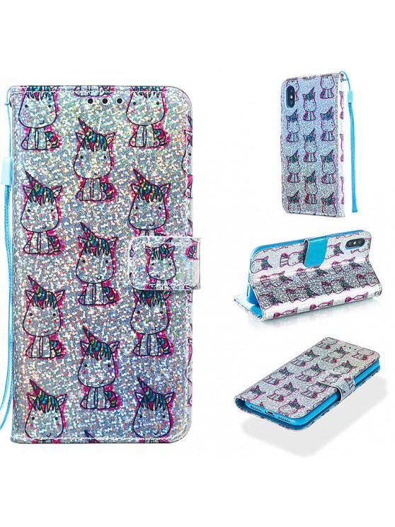 lady Luxury Glitter Leather Card Wallet Flip Phone Case for iPhone X / XS - MULTI-E