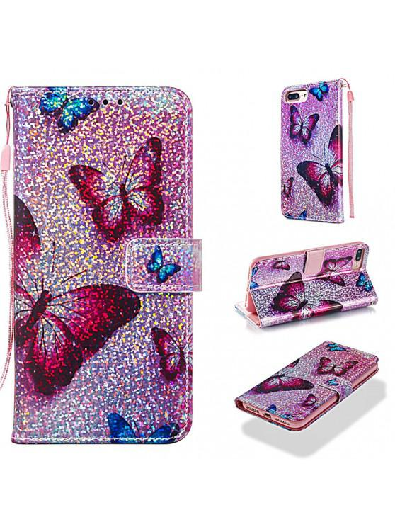outfits Luxury Glitter Leather Card Wallet Flip Phone Case for iPhone 7 Plus / 8 Plus - MULTI-A