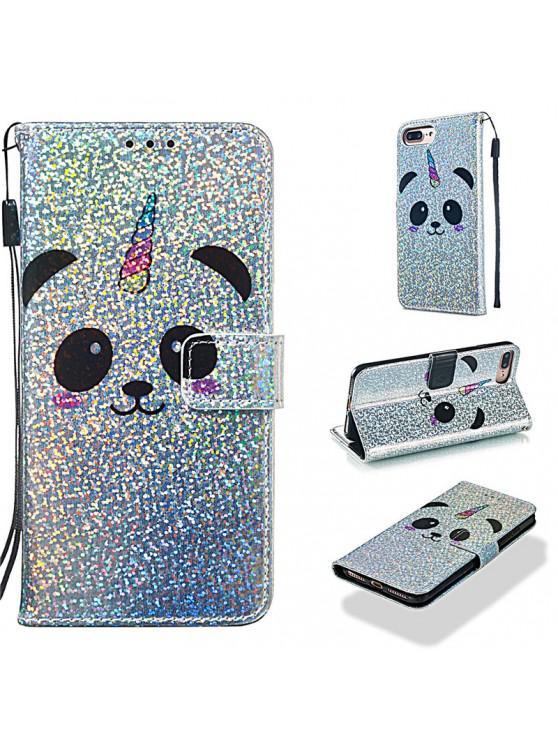 shop Luxury Glitter Leather Card Wallet Flip Phone Case for iPhone 7 Plus / 8 Plus - MULTI-B