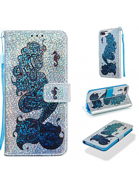 shops Luxury Glitter Leather Card Wallet Flip Phone Case for iPhone 7 Plus / 8 Plus - MULTI-C