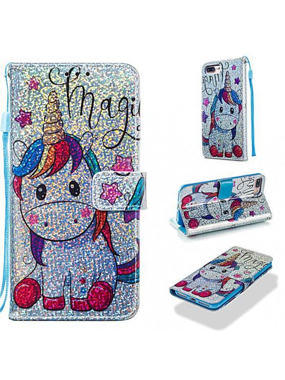 trendy Luxury Glitter Leather Card Wallet Flip Phone Case for iPhone 7 Plus / 8 Plus - MULTI-E