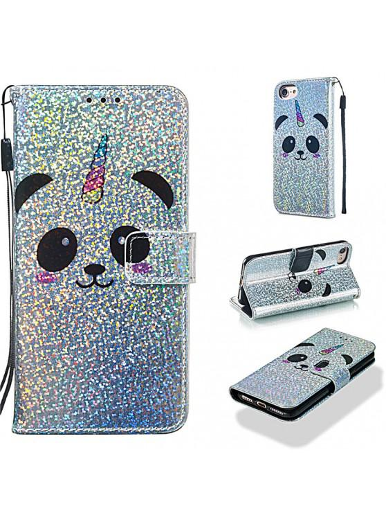 womens Luxury Glitter Leather Card Wallet Flip Phone Case for iPhone 7 / 8 - MULTI-C