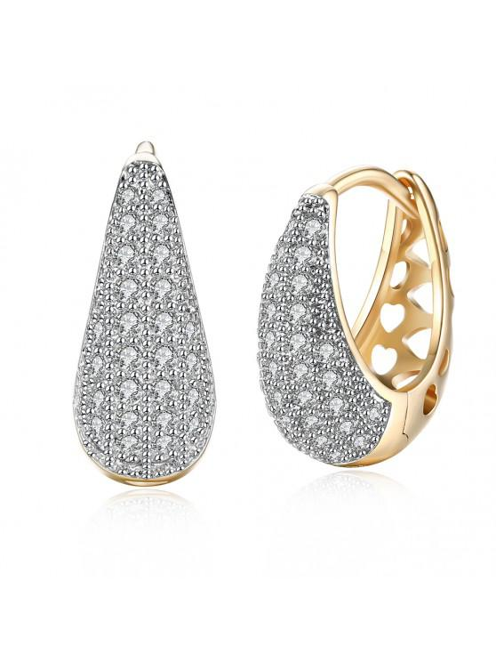 outfits Drop Shaped Set Diamond Romantic Style Earring Clip - CHAMPAGNE GOLD