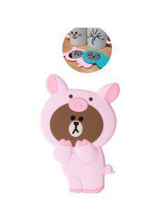 3D Cartoon Silicone Dinosaur Bear Pig Portable Travel Cosmetic Makeup Mirror - Pink