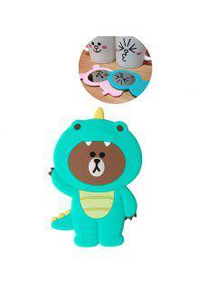 3D Cartoon Silicone Dinosaur Bear Pig Portable Travel Cosmetic Makeup Mirror - Green